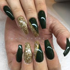 - Black And Gold Nails -Nails - Black And Gold Nails - Love all Greens! Best Acrylic Nails, Acrylic Nail Designs, Matte Nails, Stiletto Nails, Gorgeous Nails, Pretty Nails, Green Nail Designs, Glamour Nails, Thanksgiving Nails
