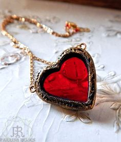 Fragile Heart  Stained Glass Necklace by ParrishRelics on Etsy, $98.00
