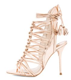Olivia Palermo's #LFW Pin Picks: Recreate the look from Marchesa SS '15 with these stunning rose gold heels by Sophia Webster.