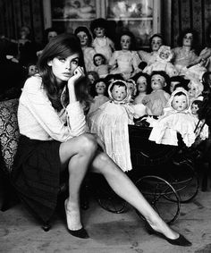 Jean Shrimpton at a Doll's Hospital in London, photographed by Terry O'Neill, 1964.