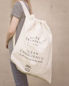 Large Eco Canvas Laundry Bag. Natural cotton. by CherryTKnitCo