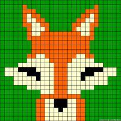 Fox perler bead pattern Crochet Chart, Crochet Motif, Beaded Cross Stitch, Cross Stitch Patterns, Loom Beading, Beading Patterns, Loom Animals, Seed Bead Crafts, Graph Design