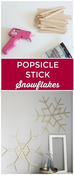 Use popsicle sticks for the ultimate snowflake craft. Huge snowflakes made with…