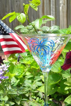 Hand Painted Martini Glass Fireworks Martini by EmbellishCraft