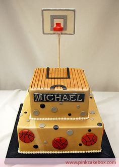 Basketball Court cake idea---- But would work with stacked boxes for gift cards.