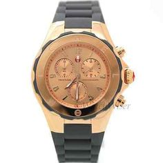 MWW12F000045 Michele Tahitian Jelly Bean Watch Large Grey Silicone Rose Golden