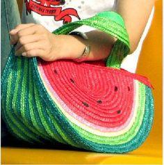 watermelon purse | Women Straw Beach Watermelon Handbag Shoulder Bag Free Shipping-in ...