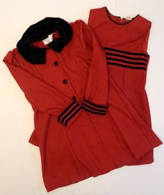 Girls Little Bitty Fancy Dress and Matching Coat Red Black Two Piece Set Size 6 #LittleBitty #DressyHolidayPageantWedding