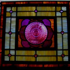 """Plate"" stained glass with an antique plate in the center by Christopher Hayes"