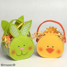 Easter baskets, bunny & chick