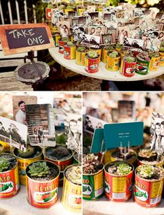 more succulents in cans! like the idea of giving engagement prints along with the gift - good way to put those engagement photos to good use!