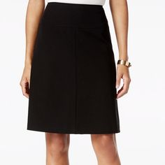 "Short Stretch Black A-line Skirt Classic A-line! 1"" ridge waist band with back invisible zipper closure. 96% 4% spandex Machine washable 30"" waist 40"" hips 42"" sweep 20"" overall length Apostrophe Skirts A-Line or Full"