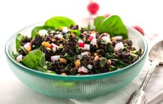 Middle Eastern Black Rice and Lentil Salad on a Bed of Spinach - NYTimes.com