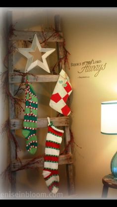 We are going to hang Christmas stockings on a ladder this year, because our farmhouse doesn't have a mantel. I've seen a few pins of Christmas stockings on ladders but I like how this one is decorated too. Primitive Christmas, Country Christmas, Simple Christmas, Winter Christmas, All Things Christmas, Christmas Holidays, Christmas Decorations, Merry Christmas, Primitive Snowmen