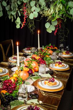 Taken in preparation of the Fall season our fruit inspired center piece runs the whole length of our Farm Table Rental.