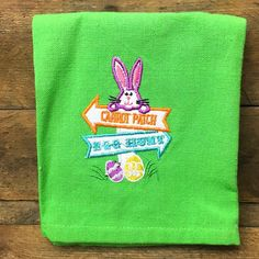"""Easter Hand Towel """"Carrot Patch"""" and """"Egg Hunt"""" Bunny Signs"""