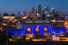 In honor of the Kansas City Royals, Union Station is bathed in a Royal blue light. The Downtown Marriott hotel was also honoring the Royals with a KC logo in lights on the hotel.