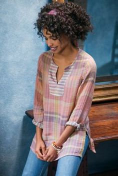 Rustic Plaid Top - Plaid Tunic, Plaid Tunic Top | Soft Surroundings