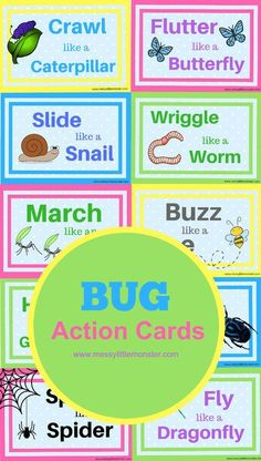 Age: Toddler/ PreK/School Age Foundations: Demonstrate Creative Movement Expression Demonstrate Awareness of Life Bug action movement cards for kids. Keep toddlers and preschoolers active with these bug themed printable activity cards. Preschool Movement Activities, Insect Activities, Preschool Lessons, Toddler Preschool, Preschool Activities, Preschool Bug Theme, Preschool Curriculum, Spring Theme For Preschool, Physical Activities For Preschoolers