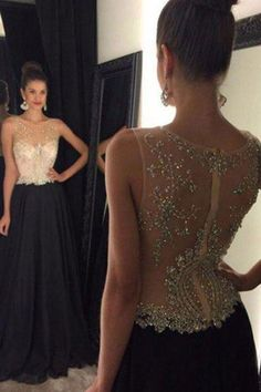 prom dresses,New Arrival black round neck lace long prom dress, evening dress