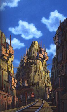 The Art Of Animation — Hayao Miyazaki - . Hayao Miyazaki, Art Magique, Japon Tokyo, Japanese Animated Movies, Castle In The Sky, Ghibli Movies, Howls Moving Castle, My Neighbor Totoro, Animation Background