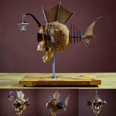I like to be creative and design weird and wonderful things. Awesome Art, Cool Art, Angler Fish, Human Skull, Steel Rod, Weird And Wonderful, Hanging Art, Art Fair, Camera Lens