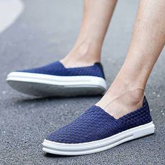 Men's #blue leather slip on shoe #sneakers simple knit style, check, casual, leisure occasions.