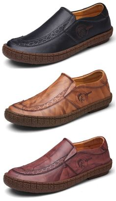 Men Vintage Carved Soft Slip On Casual Loafers Widen Head Leather Shoes