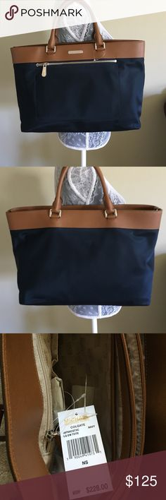 """NWT Michael Kors Large Shoulder/Tote Bag NWT Michael Kors Large Shoulder/Tote Bag. Navy material w/brown leather trim/handles and removable shoulder strap. Many compartments inside and 1 zip compartment outside. Measures approx 15""""X11"""".  Gorgeous!! KORS Michael Kors Bags Shoulder Bags"""
