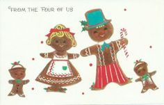 Vintage 1950s Christmas Card Front Gingerbread Family Collectible