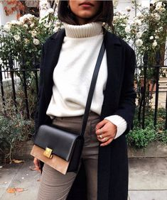 chunky knit turtleneck layered under a cardigan with tartan pants and a classic satchel winter fashion, street style, classy Fashion Mode, Look Fashion, Covet Fashion, Womens Fashion, Latest Fashion, Fashion Fall, 50 Fashion, Cheap Fashion, Women Business Fashion