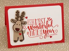 Reindeer Christmas card using Stampin Up Cookie Cutter Christmas stamp & die bundle & Wonderful Year stamp set. By Di Barnes #colourmehappy 2016 holiday catalogue