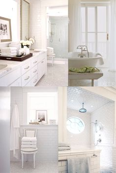 Perfect! Walk-In shower, soaking tub, white marble vanity, bright.