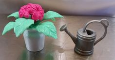 Dollhouse Furniture Gray Gardening Water Can White Pot Pink Flowers Home Decor