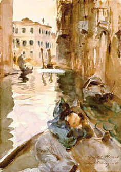 John Singer Sargent (American, 1856–1925): Small Channel in Venice, 1902. - Google Search