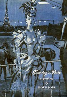 BOURJOIS, Evening in Paris Perfume, 1947, Grand elegance, Paris style.