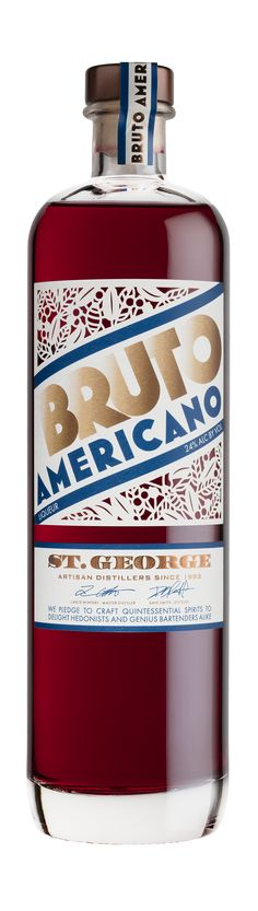 The newest release from St. George Spirits in California is Bruto Americano, a gorgeous new addition to the growing category of American aperitivo. Bitter Bar, Gluten Free Vodka, Wine Enthusiast Magazine, Wine And Beer, Fun Drinks, Whisky, Vodka Bottle, Cocktails, Spirit