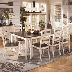 Ethan Allen Country Colors Table With Six Side Chairs Two