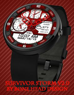 Survival Storm v2.0 Red watch face preview