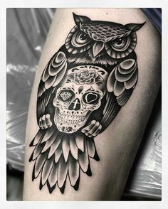 Owl sugar skull thigh tattoo Tribal Tattoos, Native Tattoos, Tribal Prints