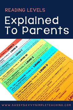 Reading Levels Explained for Parents! - Sassy Savvy Simple Teaching These parent reading level letters help to explain the characteristics of students independent and instructional reading levels. Great for conferences and to model for parents! Guided Reading Levels, Reading Strategies, Reading Skills, Reading Lessons, Reading Resources, Comprehension Strategies, Reading Groups, Parent Resources, Reading Activities