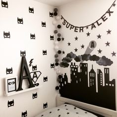 Superhero monochrome bedroom. More