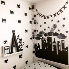 Superhero monochrome bedroom.