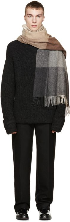 Paul Smith Grey & Brown Wool Mainline Scarf
