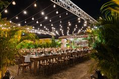 I wanted the night to feel like an intimate dinner party! Our dinner under the stars was so magical with the hanging Edison bulbs and hundreds of lush palm trees surrounding the party.