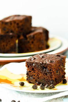 Healthy Chocolate Banana Snack Cake has no refined sugar. Delicious and nutritious.