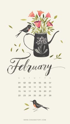 February 2015 Calendar, watercolor with birds and flowers by Oana Befort.