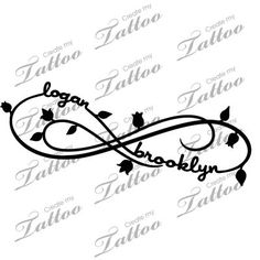 I love this, I could customize it too with their birthmonth flowers, etc. Two Kid's Names Foot Tattoo | Infinite+names #77129 | CreateMyTattoo.com by willie