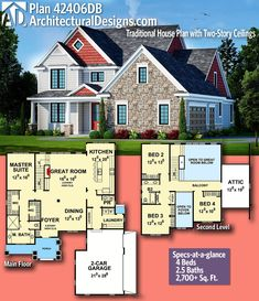 Architectural Designs House Plan 42406DB! This home gives you 4+ beds, 2.5 baths and over 2,700 sq. ft. of heated living space. Ready when you are. Where do YOU want to build? #42406db #adhouseplans #architecturaldesigns #houseplan #architecture #newhome #newconstruction #newhouse #homedesign #dreamhome #dreamhouse #homeplan #architecture #architect #traditional