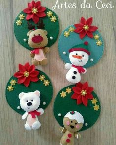 Quilted Christmas Ornaments, Felt Christmas Decorations, Christmas Sewing, Christmas Crafts For Kids, Xmas Crafts, Felt Ornaments, Felt Crafts, Christmas Holidays, Christmas Stockings